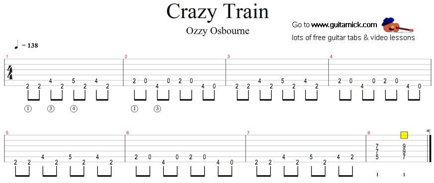 crazy train ozzy osbourne guitar tab music 2019 guitar tabs guitar songs guitar songs. Black Bedroom Furniture Sets. Home Design Ideas