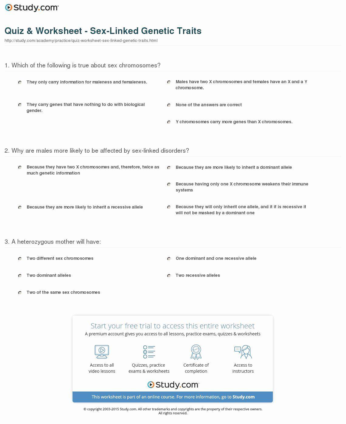 Genetics X Linked Genes Worksheet Lovely Quiz Amp Worksheet