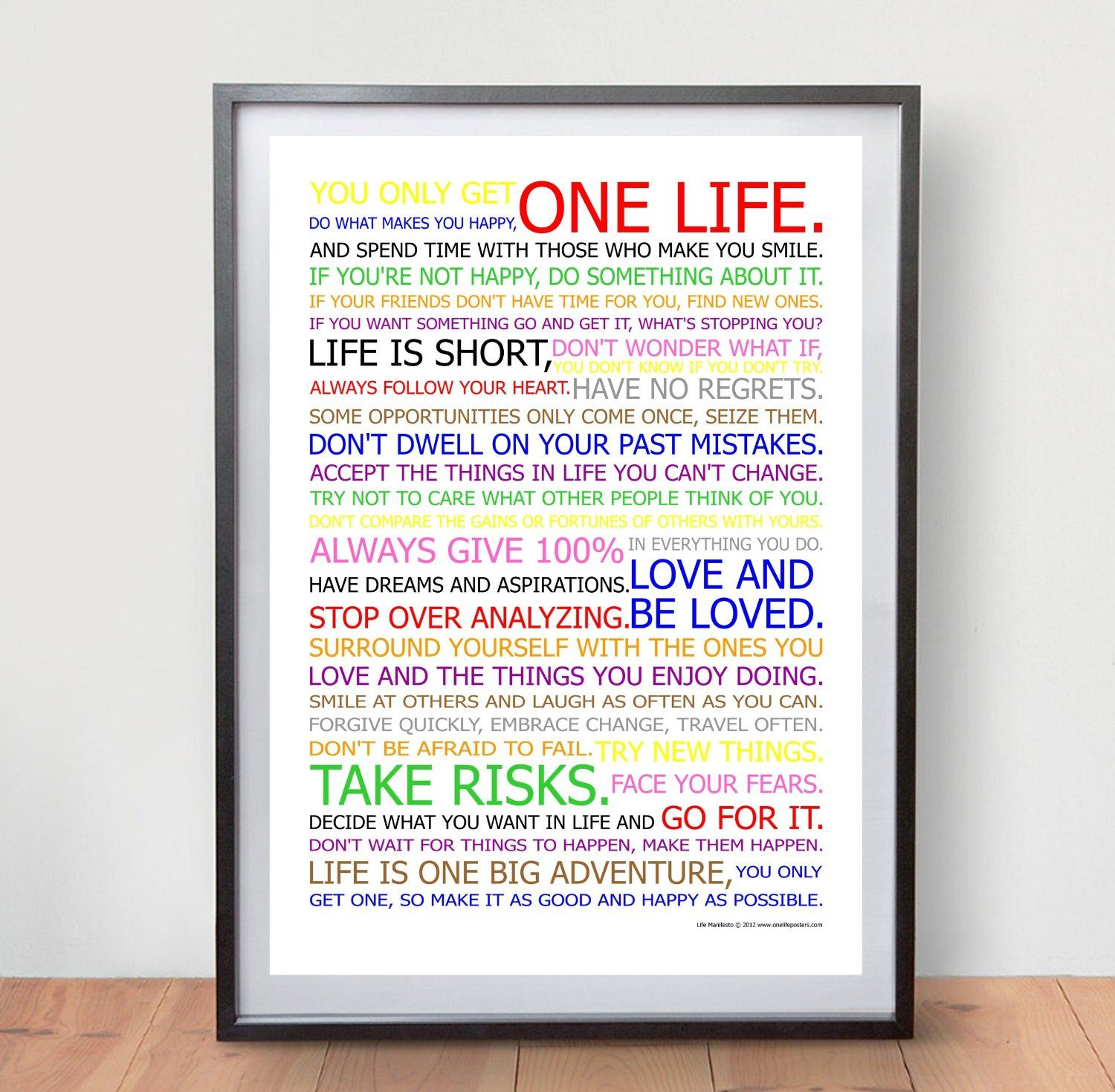 Poster Quotes About Life Life Manifesto Poster  In Colour  Motivational Quote Wall Art
