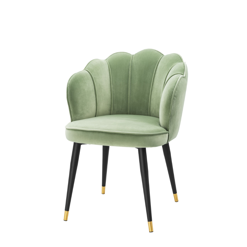 Eichholtz Polsterstuhl Bristol Savona Pistache Green Velvet Designer Essstuhle Stuhl Grun Esszimmerstuhl