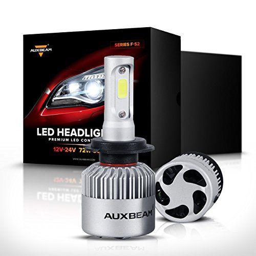 Auxbeam Led Headlights Fs2 Series Headlight Kits H7 Led Headlight Bulbs With 2 Pcs Of Conversion Kits 72w 8000lm Bridgelux Cob Chips Fog Light Hi Headlight Bulbs