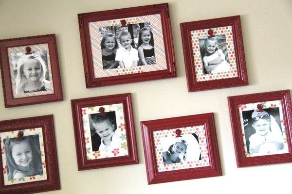 I love this idea for hanging pictures of the kids/family since it seems that they are constantly changing!! (Clip frames!!)