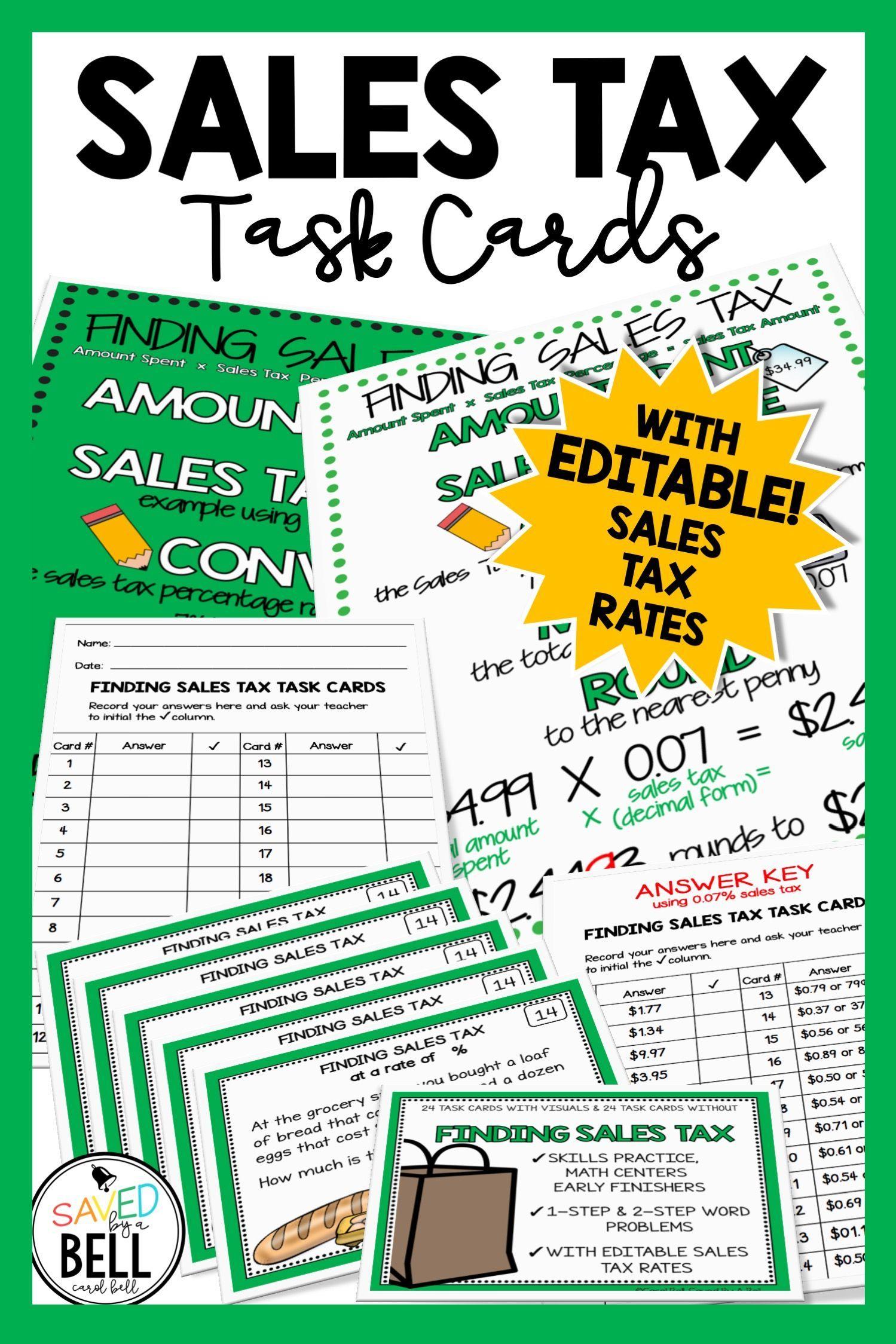 Sales Tax Task Cards Editable