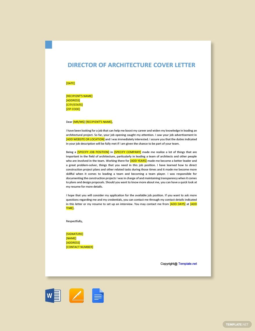 Free director of architecture cover letter template word