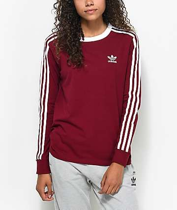 2945843027c25 adidas 3-Stripe Burgundy Long Sleeve T-Shirt