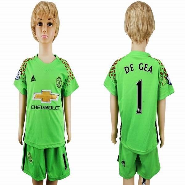 quality design 23011 8cd4d 2016-2017 Manchester United DE GEA #1 green goalkeeper kids ...
