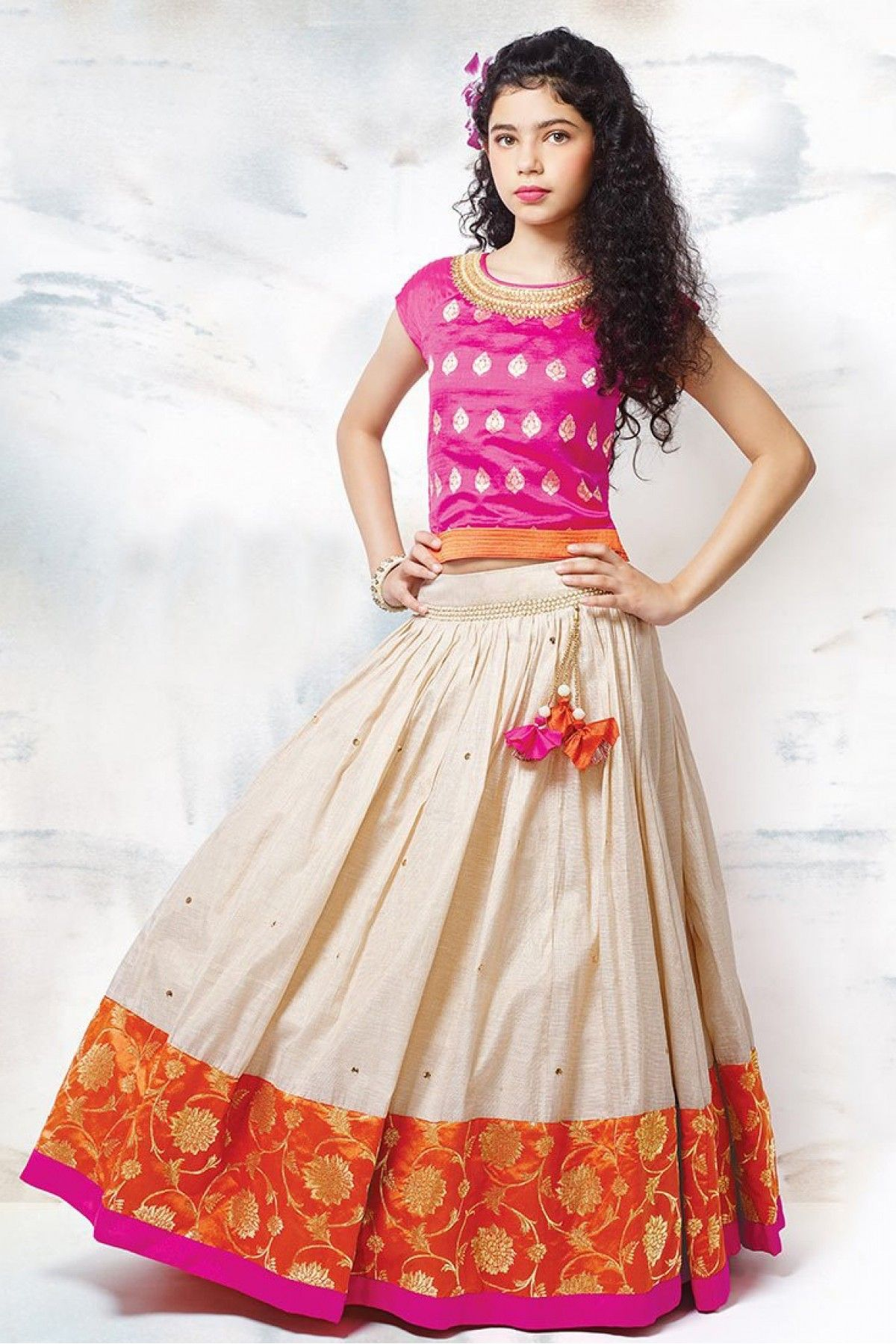 dfacf2f330 Dress up your little diva in a plush Raw Silk Lehenga Choli Pink,Cream  colour of the Lehenga Choli looks charming and pretty. This Lehenga Choli  will make ...