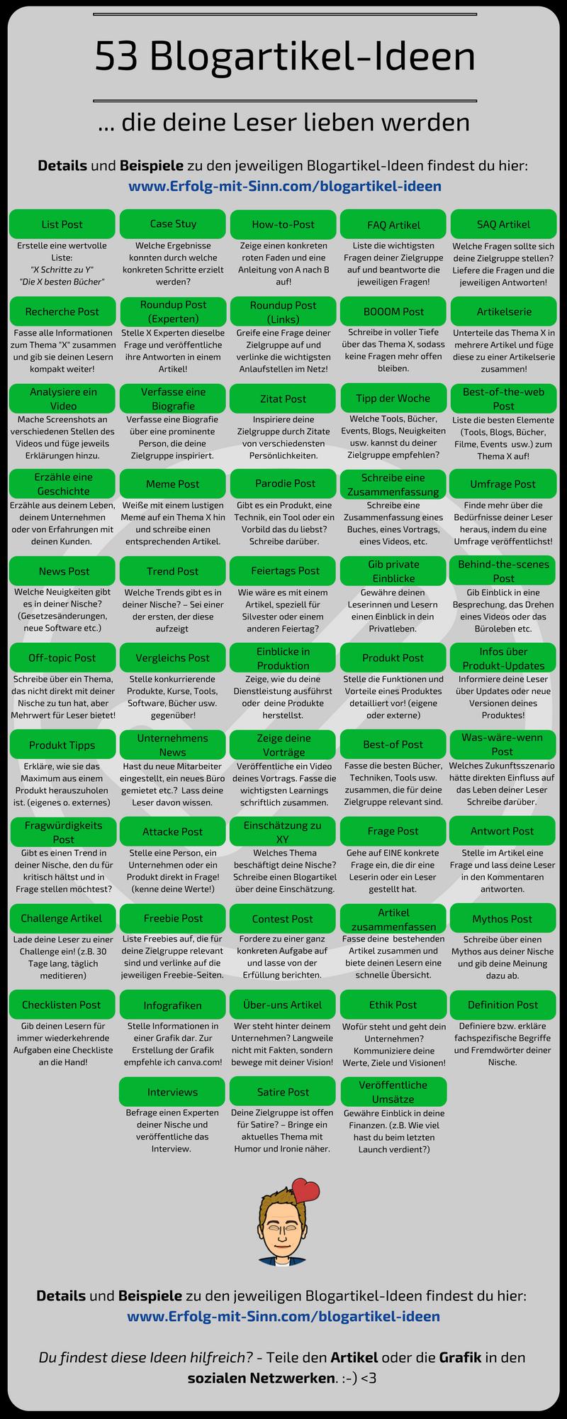 """""""53 Blogartikel-Ideen, die deine Leser lieben werden""""! - Damit wir Blogleser immer mit hervorragenden Inhalten versorgen können und immer genügend Ideen für neue Artikel haben.  :-)"""