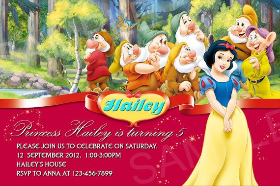 1000+ images about snow white birthday on pinterest | snow white, Birthday invitations