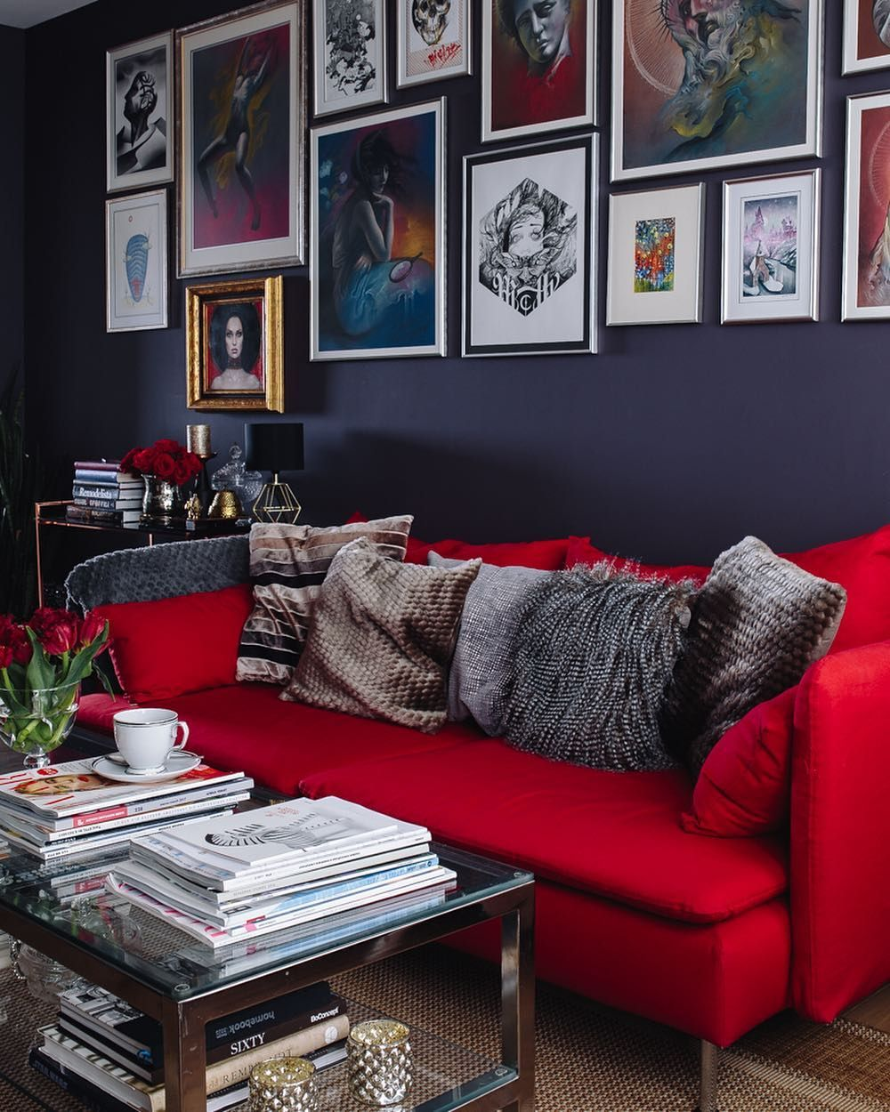 red sofa  Red couch living room, Red living room decor, Red sofa