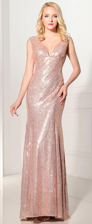 In Stock Chic Sequin Lace V-neck Neckline Sheath Evening Dresses ...