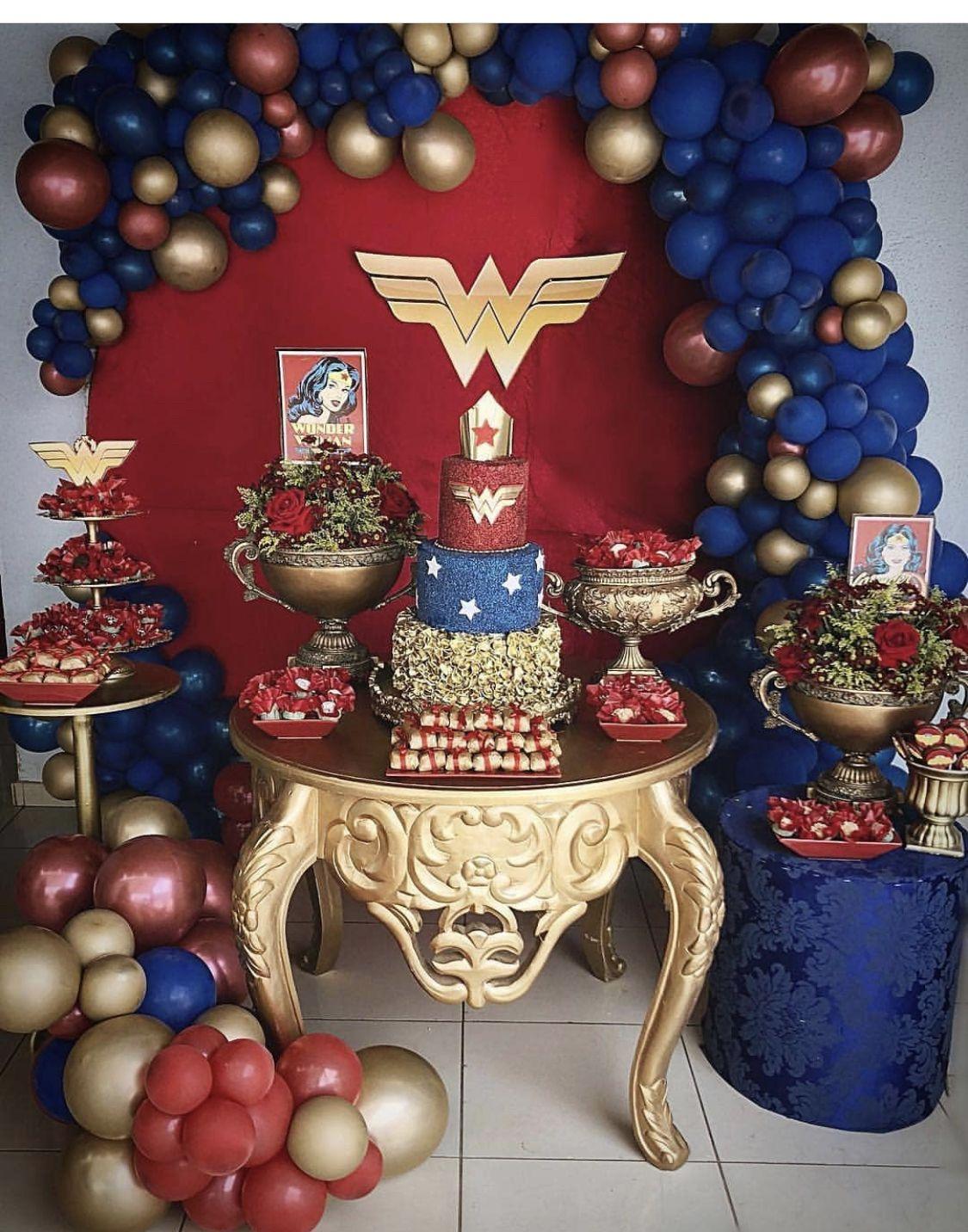Pin By Batarina Elena Aleksandrovna On Oformlenie Prazdnikov Wonder Woman Birthday Party Woman Birthday Party Women Party Ideas