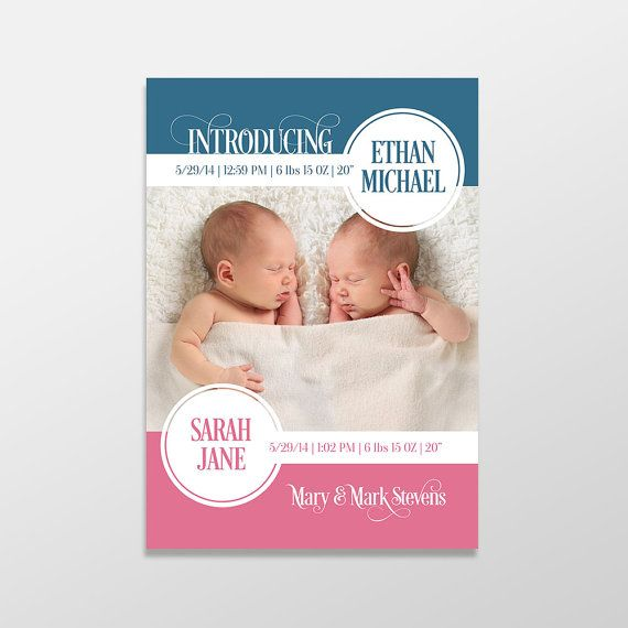 Custom Printed Twin Baby Boys and/or Girls Photo Birth Announcements