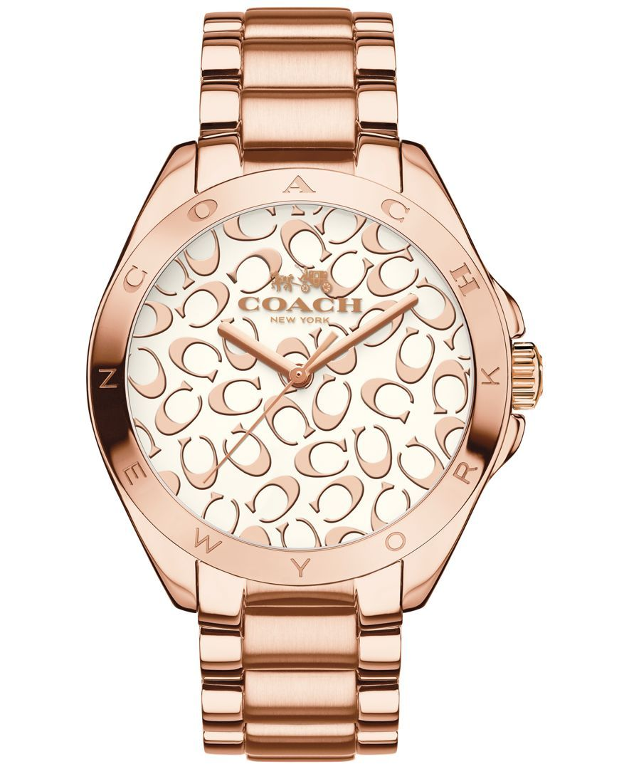 Coach Women S Tristen Rose Gold Tone Stainless Steel Bracelet Watch