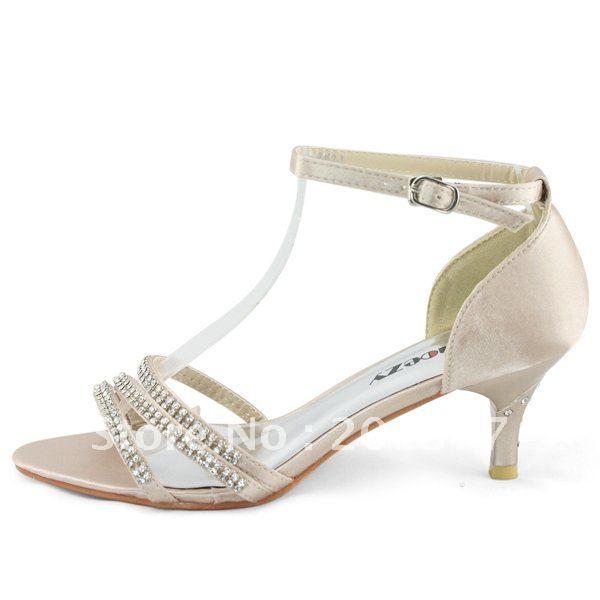 Champagne Rhinestones Kids Open Toe Girls Kitten Heels Youth Party Shoes Size 2