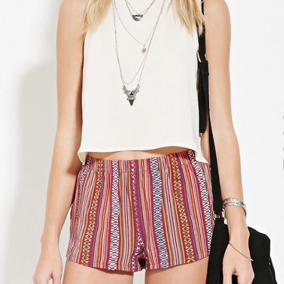 Geo-Striped Shorts Never worn Forever 21 Shorts