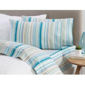 NOW $83.95 (Was $119.95) on Gisbourne Queen Sheet Set - Teal Stripe @ Bed Bath n` Table - Bargain Bro