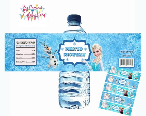 Digital Frozen 1oz Hand Sanitizer Labels Frozen Birthdays Party
