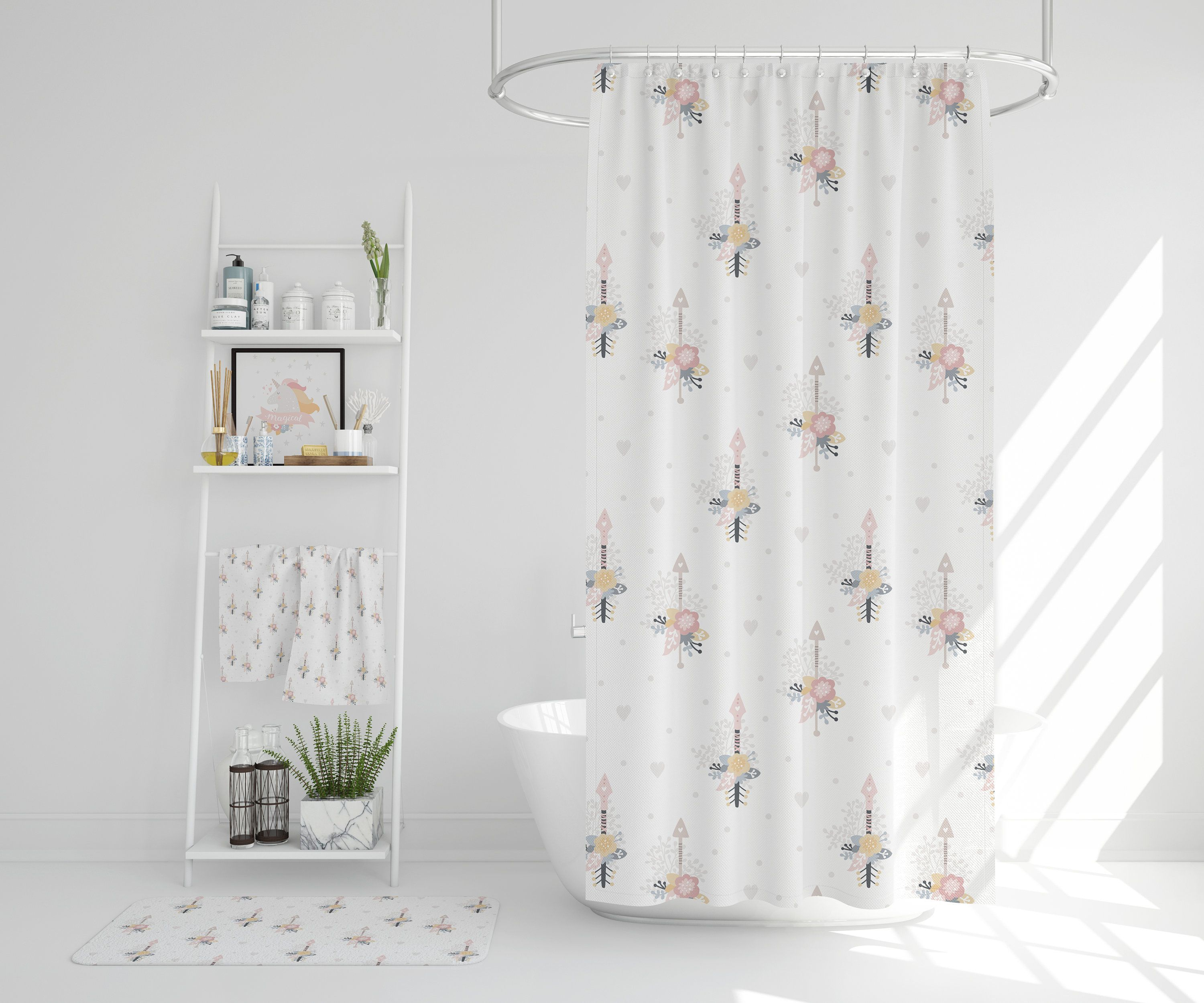 Shower Curtain Funny Kids Shower Curtain Scandinavian Design Etsy In 2020 Kids Shower Curtain Funny Shower Curtains Girls Shower Curtain