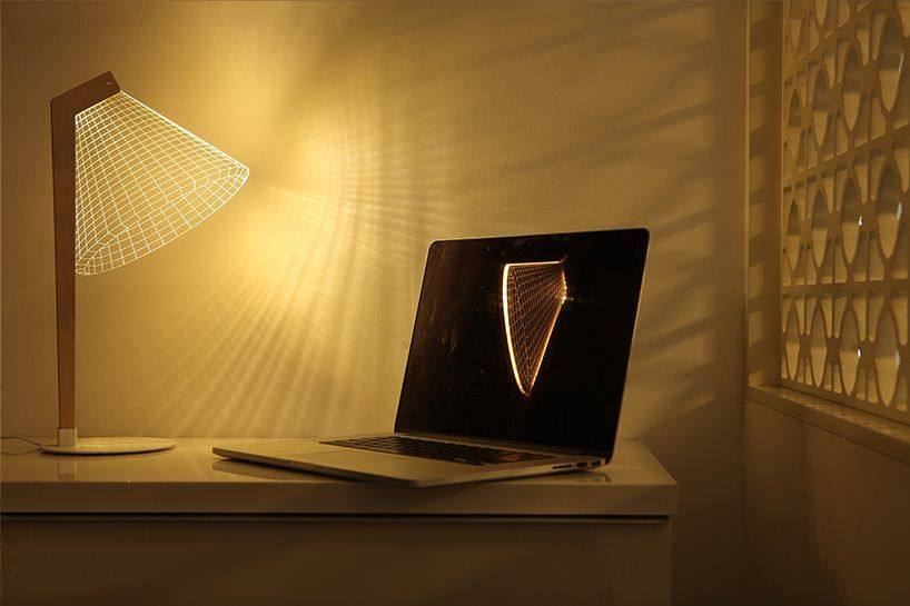 BULBING 2D Wireframe Optical Illusion LED Lamps by Studio