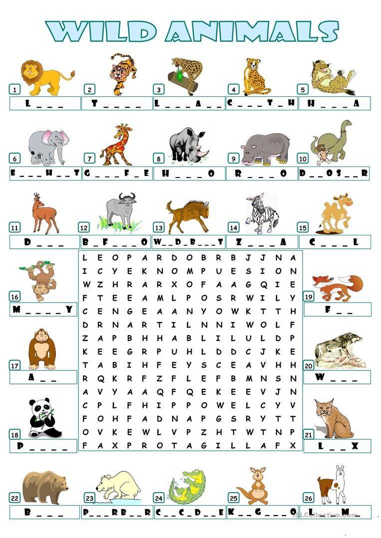 Wild Animals Wordsearch Animal Worksheets English Worksheets For Kids Animals Wild