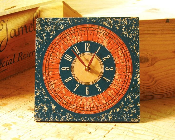 Burnt Orange Kitchen Decor 8in Square Wall Clock In And Teal