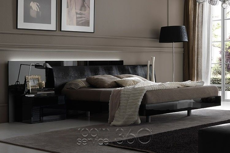 Nightfly Modern Italian Bed in Black High Gloss Lacquer by - kronleuchter modern schlafzimmer