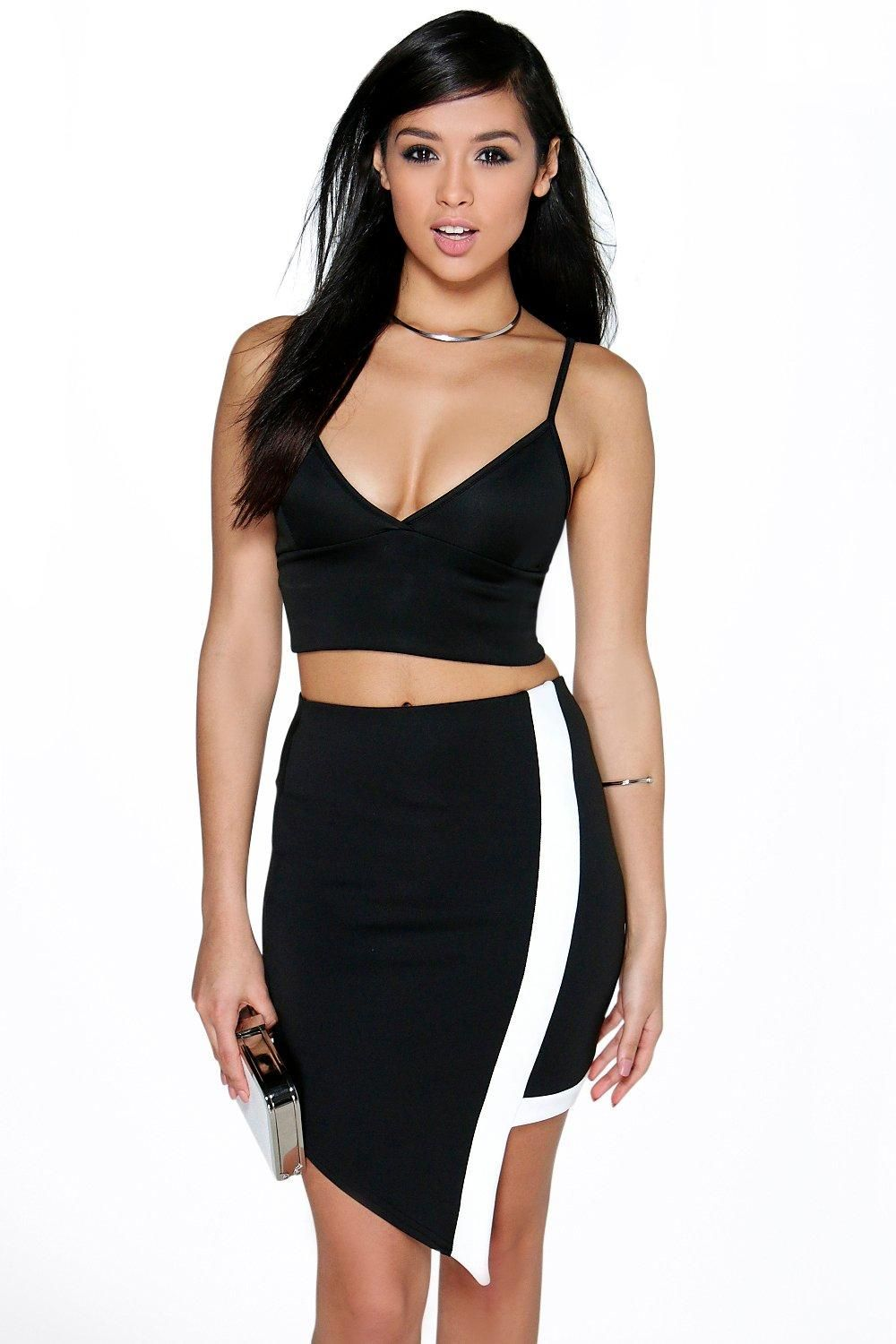 Royah Monochrome Asymetric Mini Skirt (With images