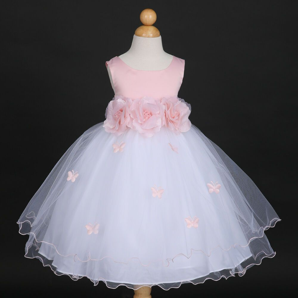 8e7773c5f Details about Pink Princess Butterfly Party Wedding Flower Girl ...