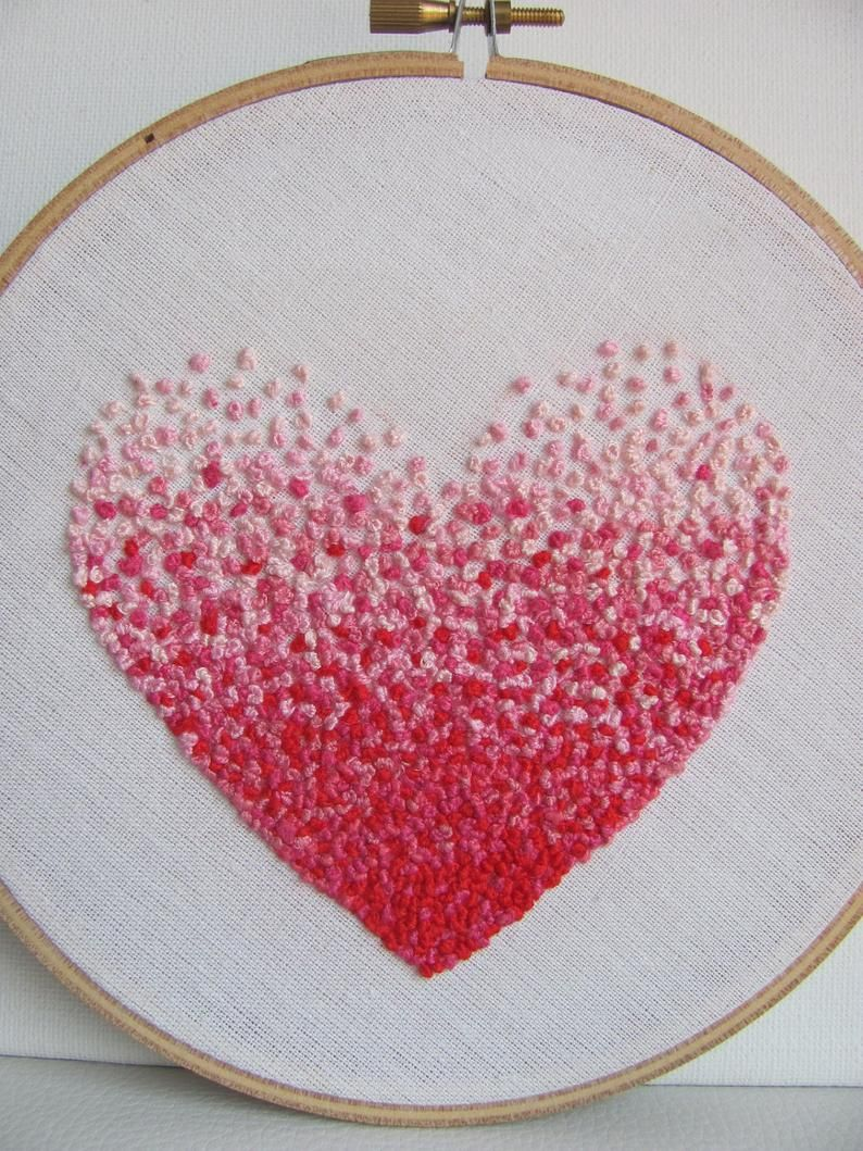 Embroidery french knot pink heart hoop art in 2020