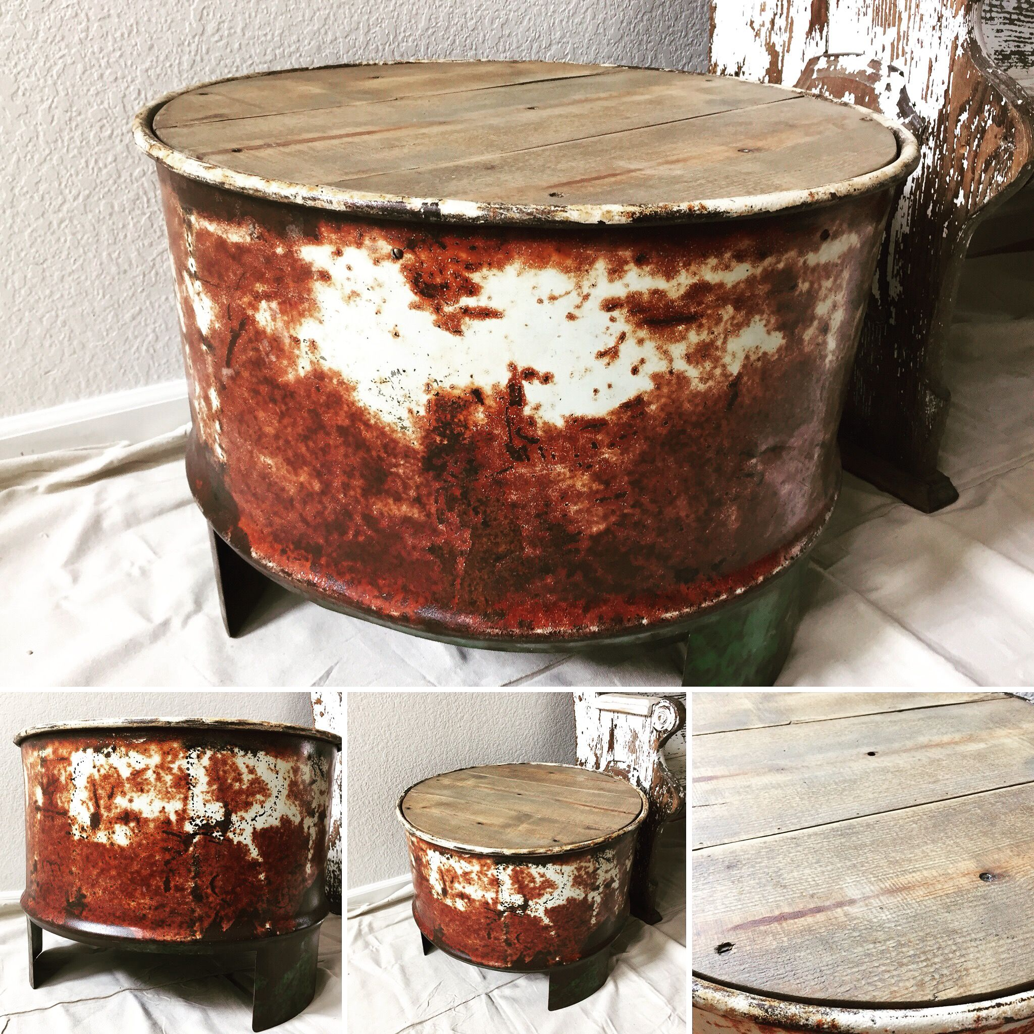 55 gallon steel drum coffee table end table