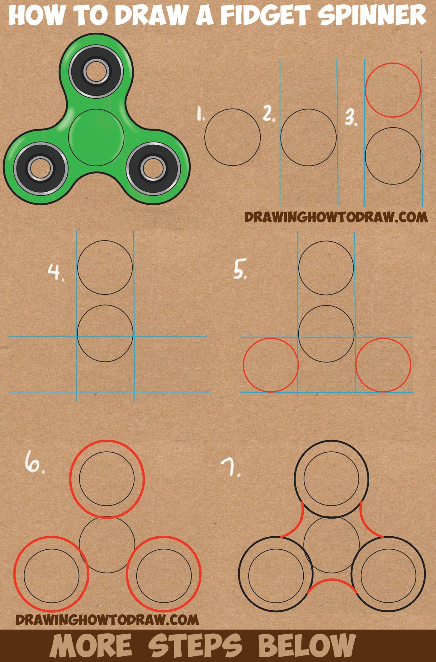 How to draw a fidget spinner easy step by step drawing for Things to draw for beginners step by step