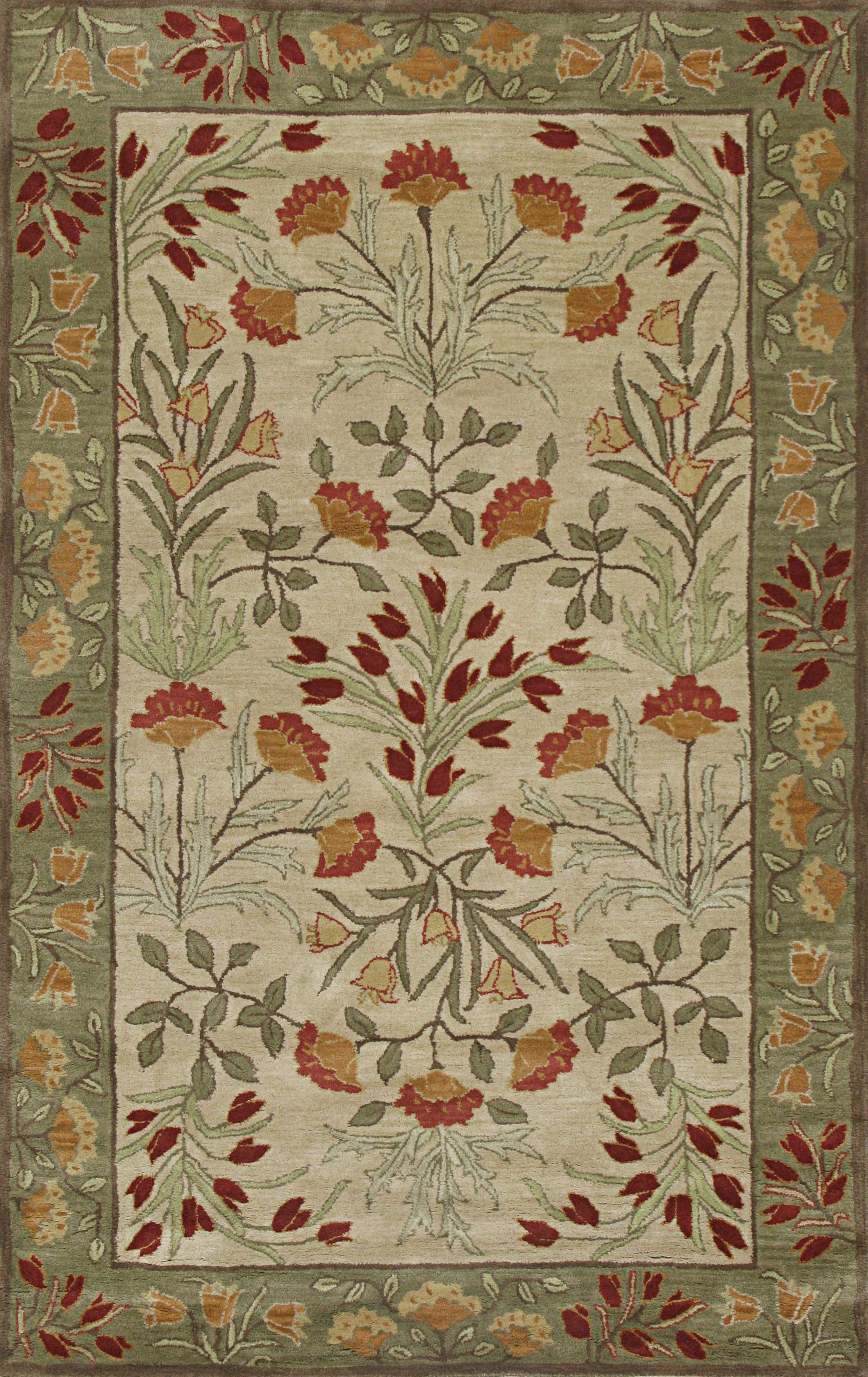 Rugsville Suzani Beige Green Wool Rug A Tree Design With