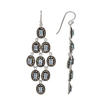 Le vieux marcasite glass sterling silver chandelier earrings le vieux marcasite glass sterling silver chandelier earrings made with swarovski marcasite aloadofball Gallery