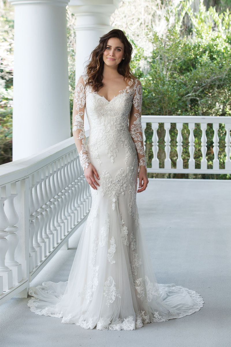 Sincerity bridal style fit and flare gown with lace illusion