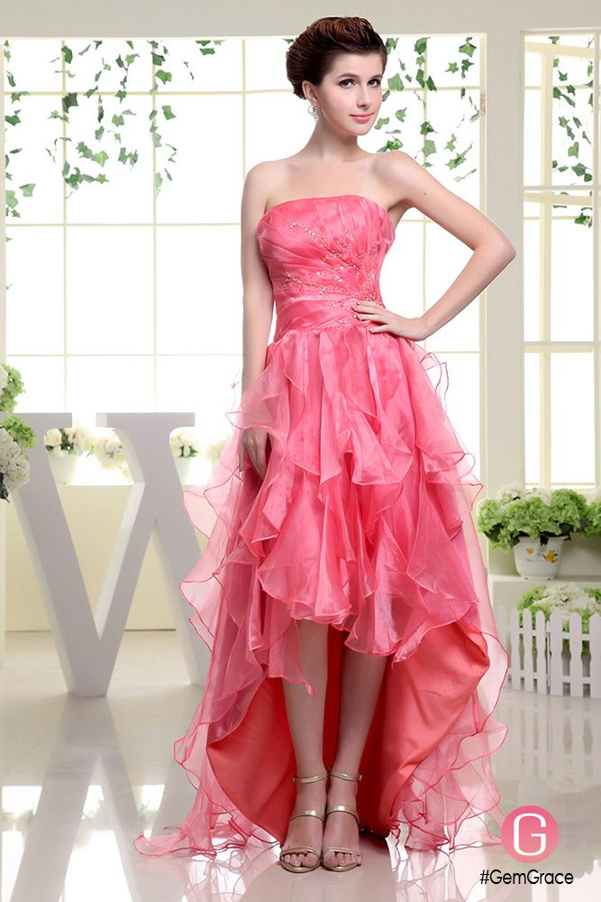 A-line Strapless Asymmetrical Tulle Prom Dress With Cascading Ruffle ...