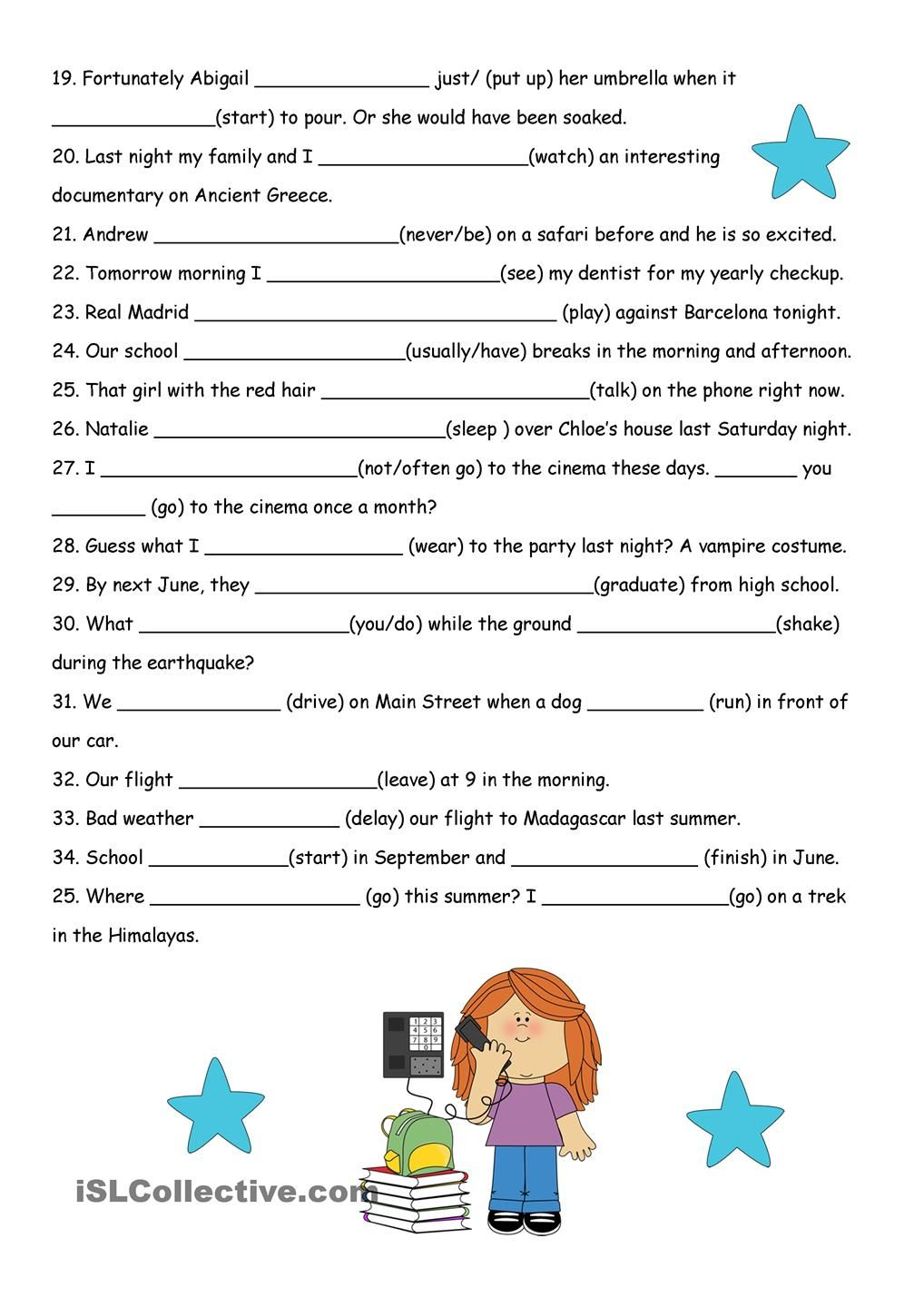 worksheet Verb Tense Review Worksheet all verb tenses fill in review 2 pages esl pinterest pages