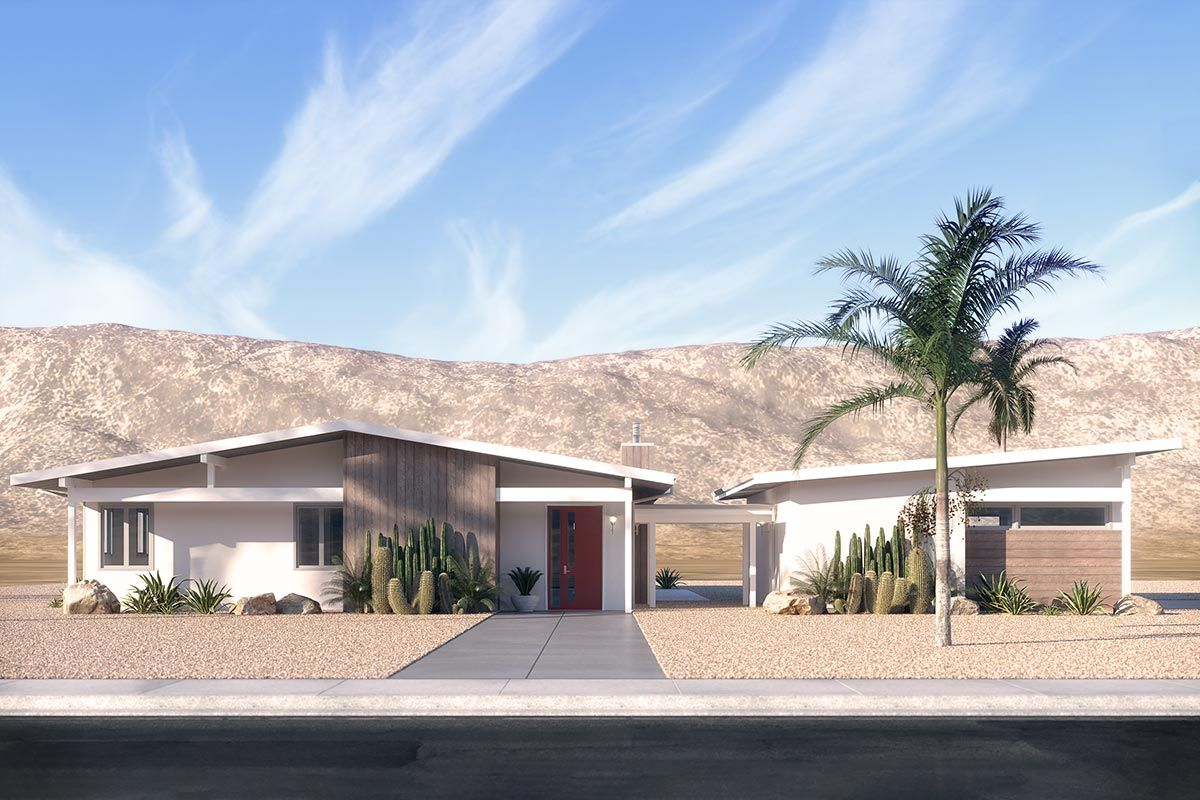 Mid century Modern House Plan with Southwest Vibe