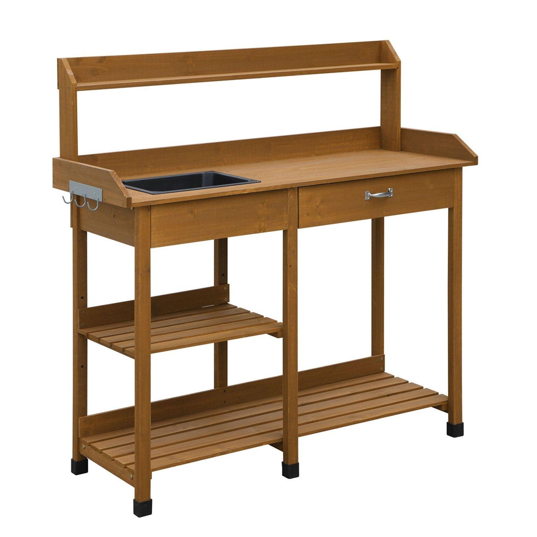 Patio Potting Bench With Sink Drawer U0026 Storage Shelves