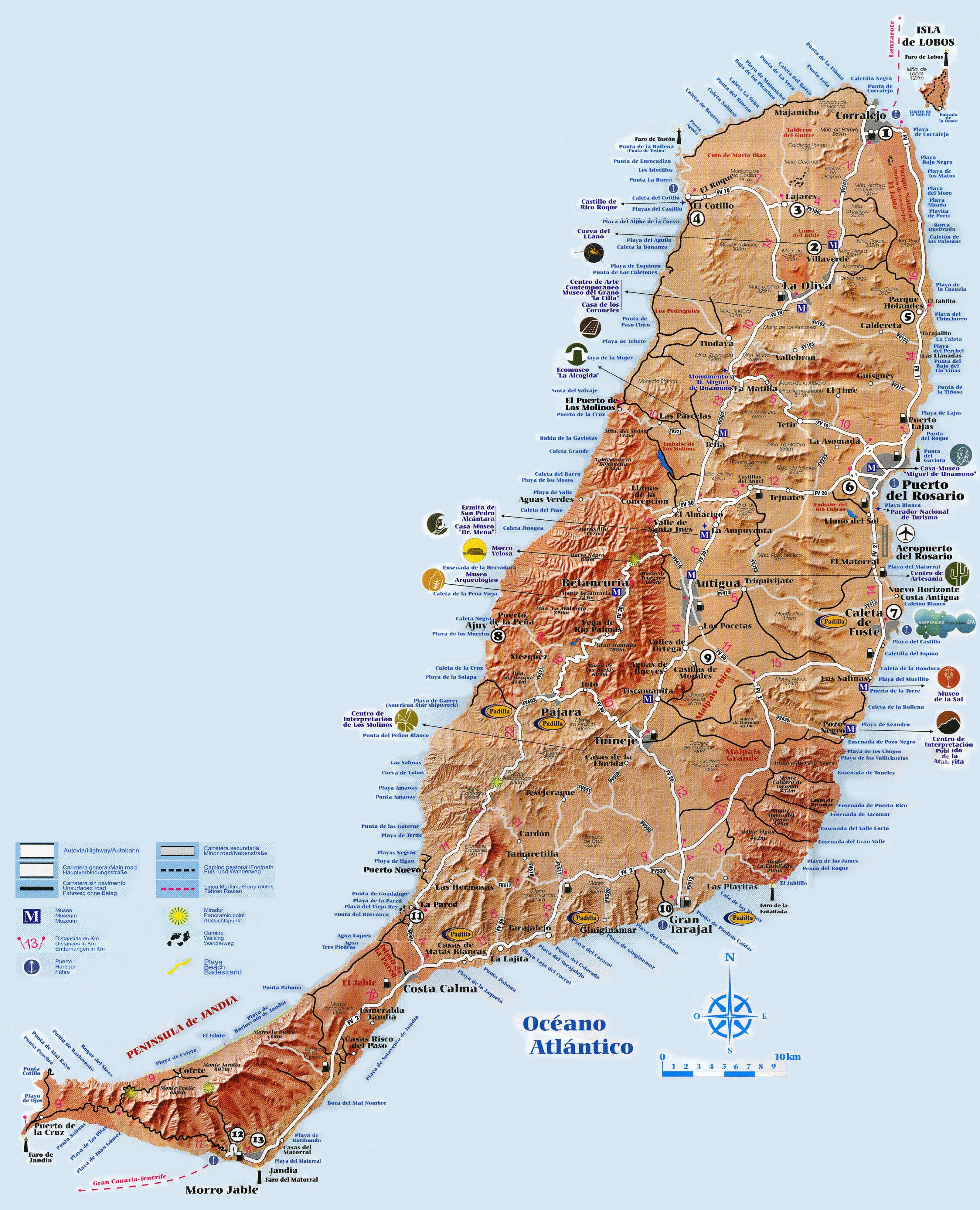 L Ile De Fuerteventura Aux Canaries Carte Touristique Cliquer