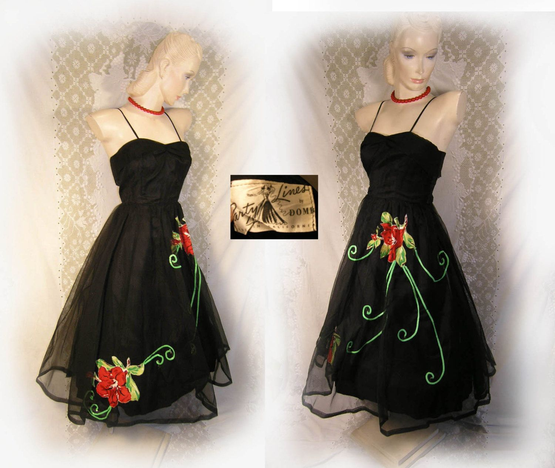 Original s black pinup emma domb party line dress dramatic flower