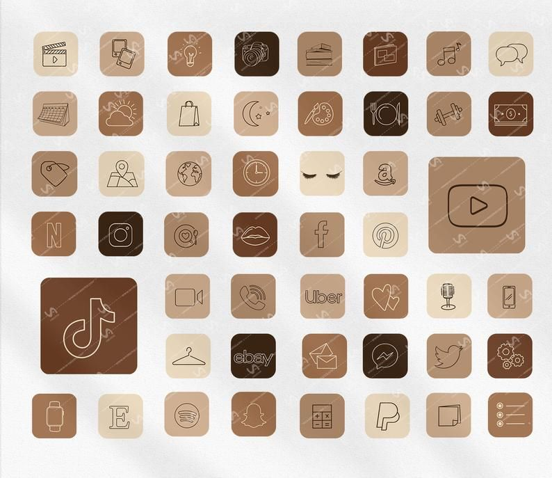 6for3 for more products go to … 50 ios APP ICONS, Neutral Beige Chocolate AESTHETIC Theme ...