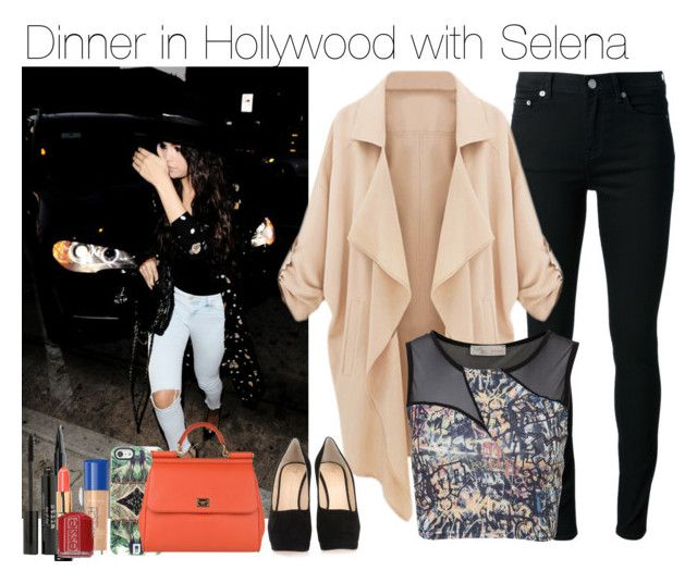 """Dinner in Hollywood with Selena"" by melikekeles1 ❤ liked on Polyvore featuring xO Design, BLK DNM, Cameo Rose, Bobbi Brown Cosmetics, Stila, Rimmel, Essie, DANNIJO, Giuseppe Zanotti and Dolce&Gabbana"