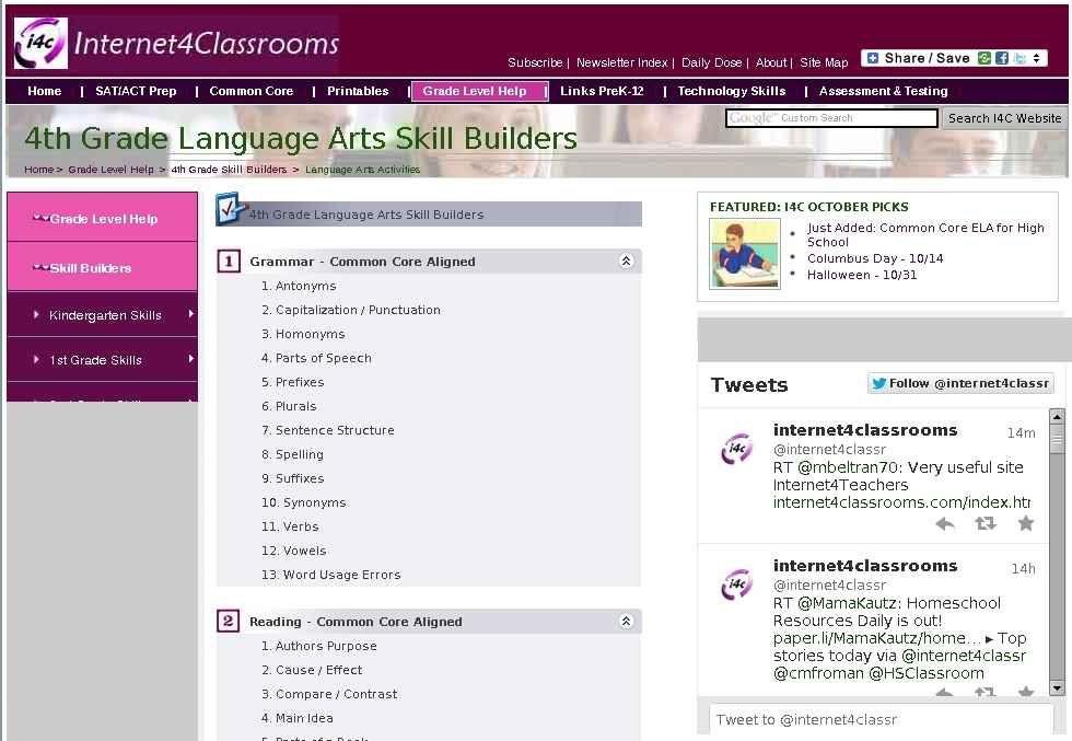 Interactive Language Arts Skill Builders for 4th Grade at I4C ...