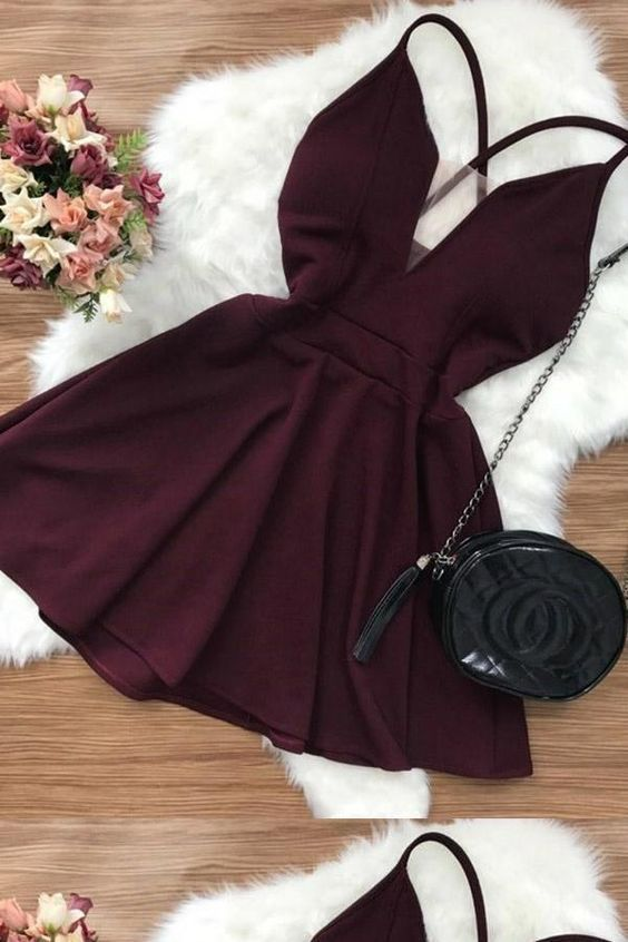 Sexy Homecoming Dresses, Short Homecoming Dresses, Open Back Homecoming Dresses, V Neck Homecoming Dresses