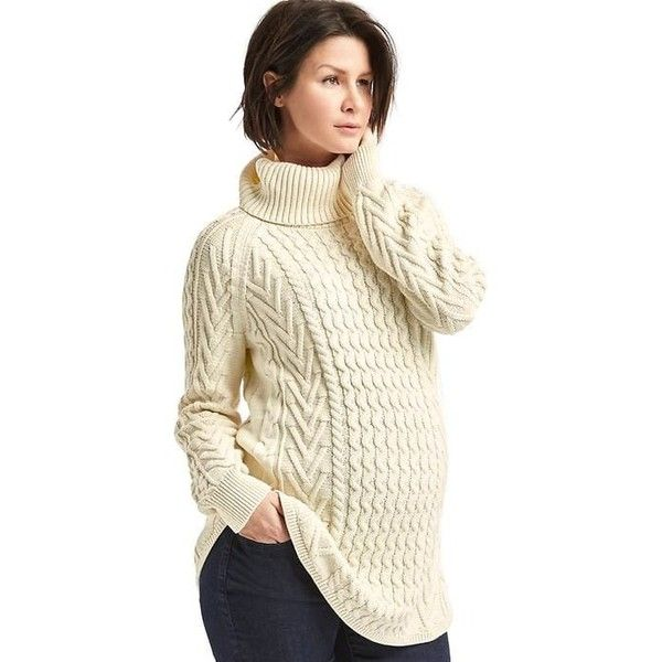 Gap Women Cable Knit Turtleneck Sweater ($65) ❤ liked on Polyvore ...
