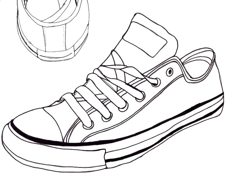 Line Drawing Shoes : Converse sneaker line art drawing by the