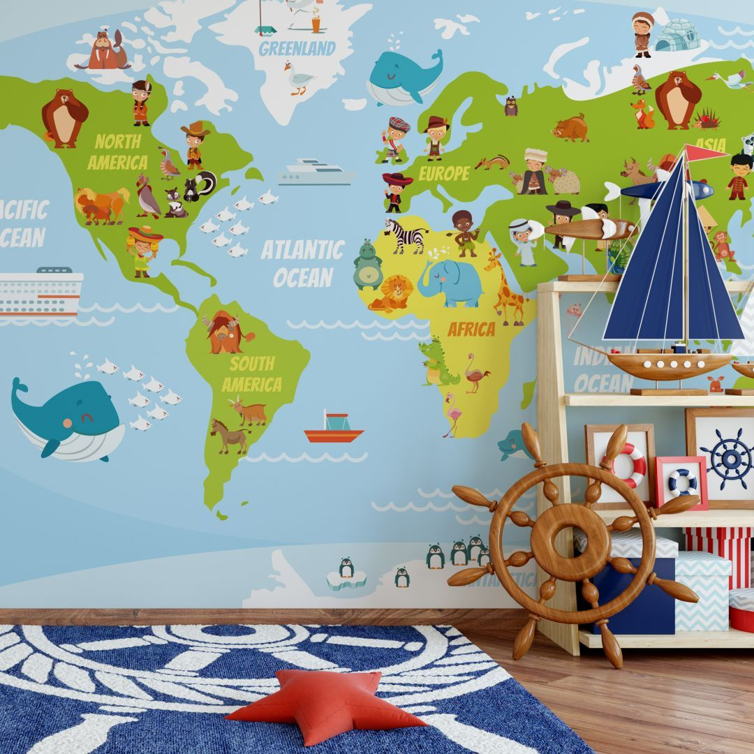 Fototapete Lustige Kinder Weltkarte Liebevoll gestaltete