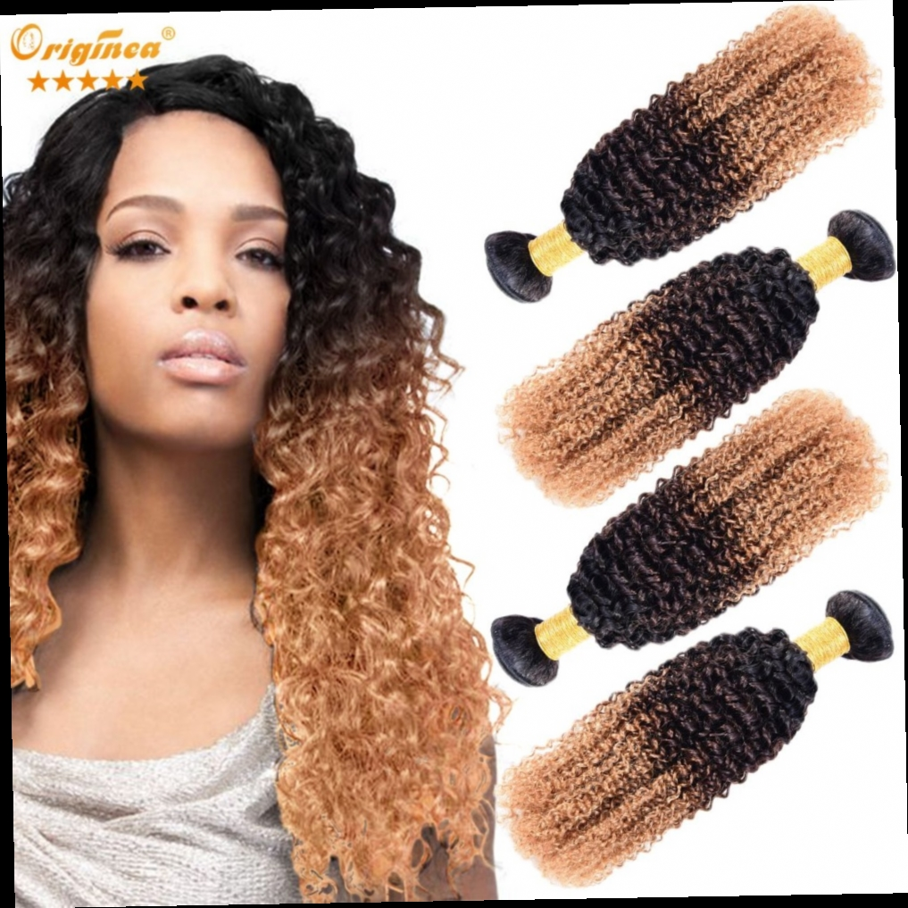 51.30$  Buy here - http://aliq6i.worldwells.pw/go.php?t=32704165370 - Malaysian Curly Hair Afro Kinky Curly Weave 4 Bundles Ombre Wet And Wavy Jerry Curl Malaysian Virgin Hair Human Hair Extension