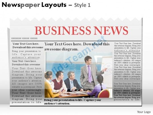 Newspaper Layouts Style  Powerpoint Presentation Slides